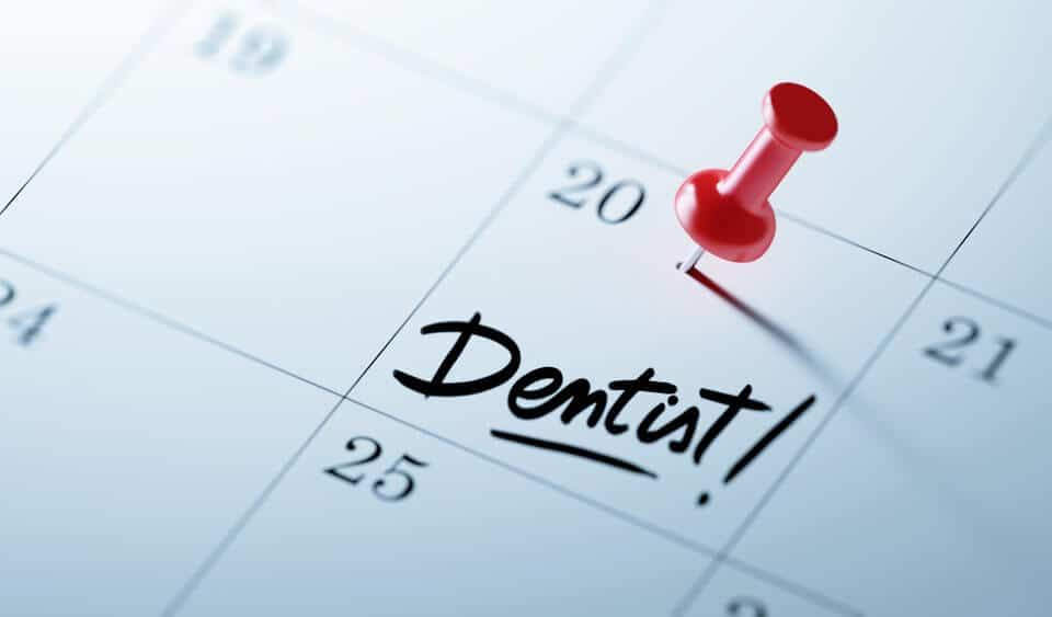 A mark for a dentist appointment on the calendar