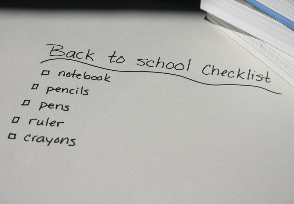 A checklist written out of back to school for children