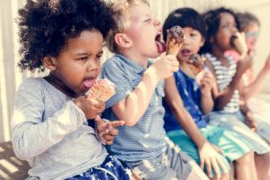 kids eating ice cream during the summer